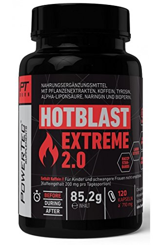 PowerTec Supplements Hot Blast Extreme 2.0 Fatburner - effektiver Hochleistungs-Fatburner für alle, die es eilig haben (120 Kapseln)