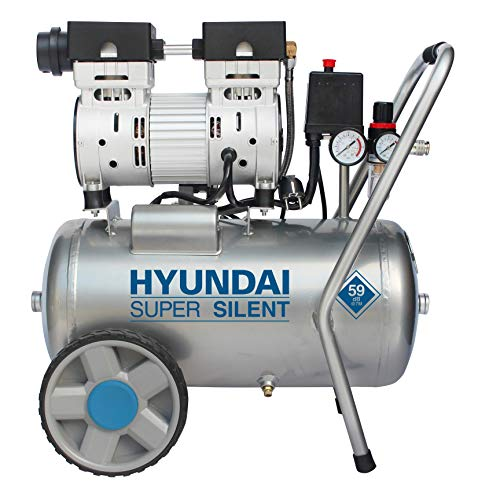 HYUNDAI Silent Kompressor SAC55752 (Druckluftkompressor, ÖLFREI, Flüsterkompressor mit 59 dB(A), 24 l Druckbehälter, 8 bar, 0.75 kW (1.0 PS), Öl-/Wasserabscheider, Ansaugleistung 125 L/Min)
