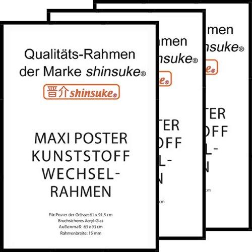 3 Stück Wechselrahmen Shinsuke Maxi-Poster 61,5x91cm Qualitätsrahmen, Profil: 15mm - Kunststoff schwarz, Acrylscheibe beidseitig foliengeschützt