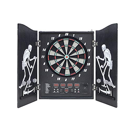 Wolketon Elektronische Dartscheibe Dartboard 4 LED-Anzeigen Dartspiel klappbar Schrank Dartautomat 27 Spielen und 243 Varianten für Zuhause Kneipenspiel