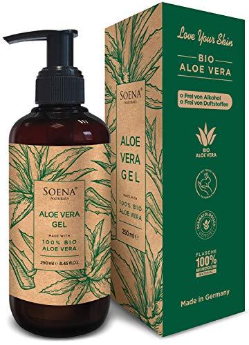 Aloe Vera Gel mit 100% Bio Aloe Vera | Frei von Alkohol & Parfüm | NATURKOSMETIK | Tierversuchsfrei | Feuchtigkeitspflege von SoenaNaturals | After Sun - 250ml - Made in Germany