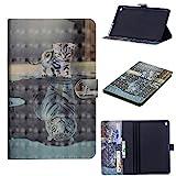 WIWJ Hülle Case für Huawei Mediapad M5 8,Ultra Slim Gemalt Schutzhülle Tasche 3D-Malerei Tablet Ledertasche Lederhülle Schale Für Huawei Mediapad M5 8-Katzentiger