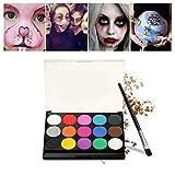 Schminke Make-Up, Kinderschminke 15 verschiedene Farben Profi Palette Ideal für Kinder, Parties, Bodypainting Halloween Make-up