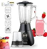 2in1 - 800 Watt Standmixer mit Mix-Behälter aus Glas 1,5 Liter inklusive Kaffeemühle, BPA-Free, 4-fach Edelstahl-Messer, Smoothie Maker, Blender, Ice-Crusher, geeignet für Smoothies, Cocktails, Suppen Schwarz
