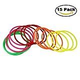 [15 Stück] Jtdeal Wurfringe, Ringwurfspiel, Ringspiel Koordinationsreifen für Innen und draußen, 5 Farben, 14.5cm