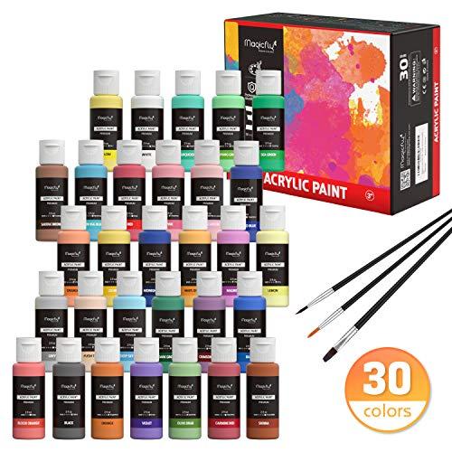 Magicfly 30 Farben waschfeste Acrylfarbe Set, je Flaschen 59ml, mit 3 zusätzlichen Pinseln, ideal für Leinwand, Papier, Holz, Stein, Keramik, Modell