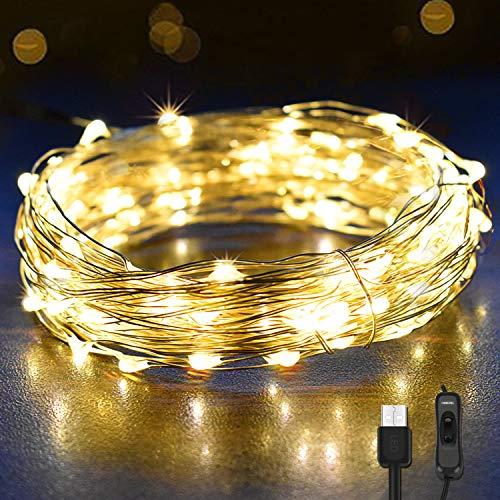 12M Led Lichterkette OMERIL 120er USB Lichterkette Draht Wasserdicht mit Schalter, Stimmungslichter Lichterkette für Zimmer, Innen, Weihnachten, Kinderzimmer, Außen, Party, Hochzeit, DIY usw. Warmweiß