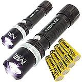 2x Polizei Swat Led Taschenlampe 5000 Lumen Zoom inkl.4x PowerAkku + Ladekabel