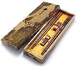 Stäbchen wiederverwendbar Chinesischer Stil Holz Drache und Phoenix Stäbchen mit Halter und Tragetasche Chinesische Geschenk-Set Essstäbchen Set by zomchain (2Paar)