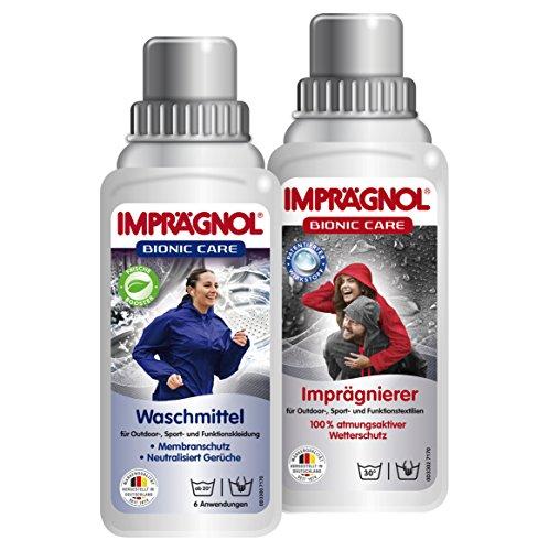 IMPRäGNOL Kombi-Pack Bionic Care Imprägnier 250ml + Bionic Care Imprägnier-Waschmittel: Sauberkeit und Wäscheschutz für jede Wetterlage - idealer Kleidungsschutz für Outdoor,- Sport- und Funktionskleidung, PFC-frei