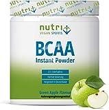 BCAA PULVER Green Apple | Aminosäuren Komplex hochdosiert | BCAAs Instant Powder Vegan | Aminosäure Supplement | Geschmack: Grüner Apfel 300g | hergestellt in Deutschland