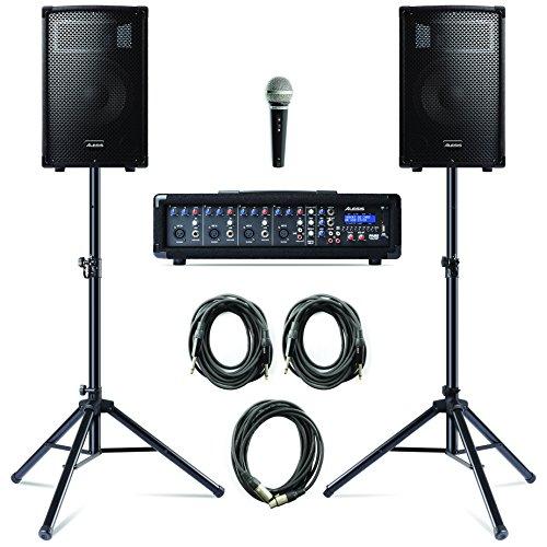 Alesis PA System in a Box Bundle, 280W Sound System mit 4-Kanal Mixer, 2 10 Zoll Passiv 2- Wege Lautsprecher mit Stative, Lautsprecherkabel und Mikrofon mit Kabel