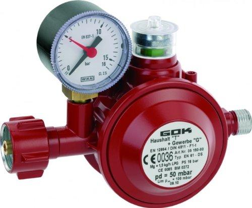 GOK Haushaltsregler / Gasregler für den Einsatz in geschlossenen Räumen, Betriebsdruck:50 mbar 1,5kg/h PS16Bar 't'