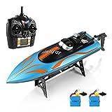 HELIFAR Funkferngesteuertes Boot RC Boot 2.4Ghz RC Rennboot 20km/h Wasserdicht mit 2 Batterie Geeignet für Vater mit Kinder Jungen / Mädchen mit Freunden