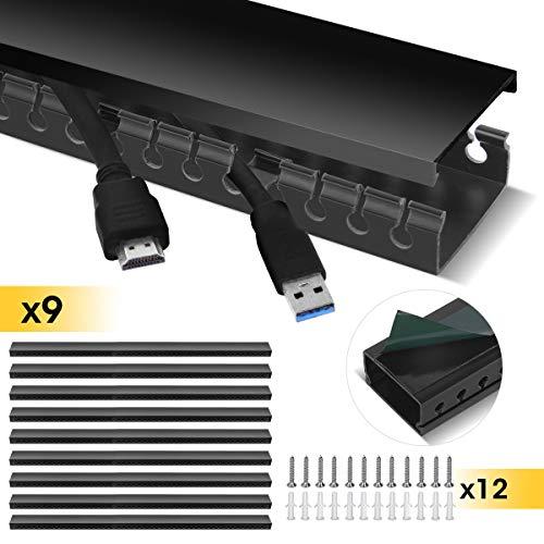 Kabelkanal, Stageek Kabelkanal selbstklebend 39x4x2cm PVC 3.5 M Länge, TV Kabelkanal Installationskanal Wand und Decken Montage allzweck für aller Art von Kabel innen Haus Büro - 9x39cm, Schwarz