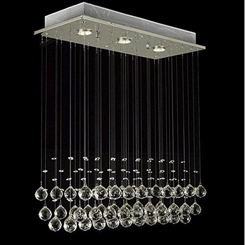 Glighone LED Deckenleuchte Kristall Hängend Kronleuchter Modern Pendelleuchte Rain Drop Beleuchtung mit 3 Leuchten Kristallkugel für Küche Flur Wohnzimmer Schlafzimmer... ( Leuchtmittell erhalten)