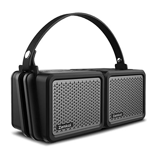 Bluetooth Lautsprecher Subbass Leistungsstarker 25 Watt Wireless Bluetooth Speakers V4.2 mit IPX7 Wasserfest Stoßfest Mikrofon und Reinem Dual Treiber Bass Zamkol (2 Pack)