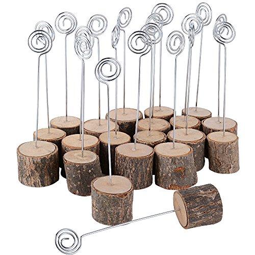 AONER 20 Stück Tischkartenhalter Fotohalter Holz Kartenhalter Hochzeit Platzkartenhalter Memohalter Sitzkartenhalter Tischnummernhalter für Hochzeit (H≈14 cm)