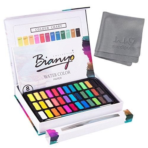 Aquarellfarben Wasserfarben set – 36 lebendige Farben + 1 Wassertankpinsel + 1 Pinsel + 8 Aquarellpapier – geeignet für Anfänger und Profis – Bianyo