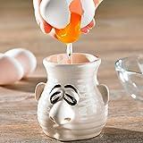 genialo Rotz-Nase, Trenner für Eigelb und Eiweiß aus Keramik weiß praktisch mehrere Eier aufschlagen Eiklar