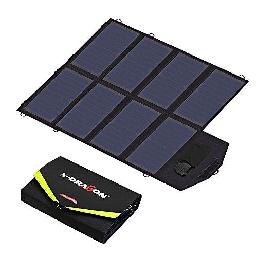Solar Ladegerät X-DRAGON 40W SunPower Faltbar Solar Panel 12V Outdoor Ladegerät (5V USB + 18V DC) für Laptop, Tablet, iPhone, ipad, Samsung, Android Smartphones