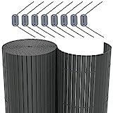 SONGMICS PVC Sichtschutzmatte ( 90 x 300 cm) Sichtschutz für Garten Balkon und Terrasse GPF093G