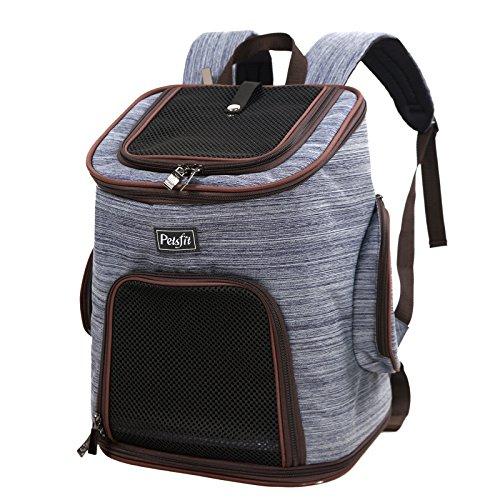 Petsfit Haustier-Reise-Rucksack mit Kopfluke, weicher im Rucksack mit Spielraum für Ihr Haustier, doppelte Schulterriemen Haustier-Fördermaschinen Beutel, Denim-Blau, 30cm x 24cm x 41cm