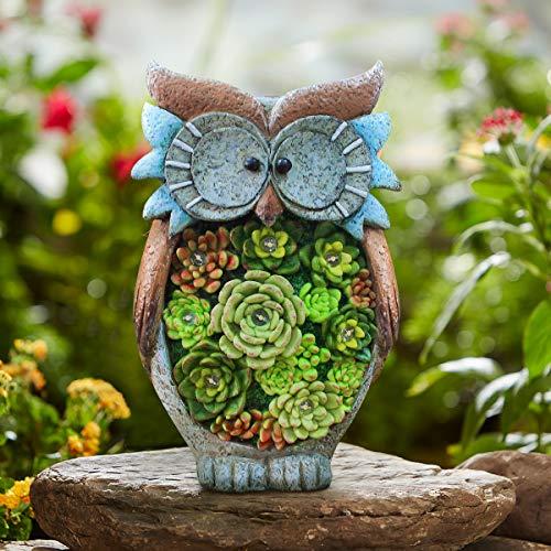 La Jolíe Muse Gartendeko Eule Solar Leuchte, aus Kunstharz Wetterfest, Gartenfigur Ornament für draußen Hof & Balkon H27 x W16cm