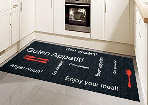 Küchenläufer Küchenteppich Gelläufer Waschbar Schwarz Rot Weiss mit Schriftzug Guten Appetit Größe 67x180 cm