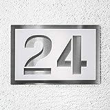 Metzler-Trade Hausnummer aus Edelstahl und Acrylglas - weiß satiniert - witterungsbeständige und kratzfeste Materialien - Bis zu drei Ziffern oder Buchstaben möglich - Verschiedene Schriftarten möglich - verschiedene Größe wählbar (215x150 mm)