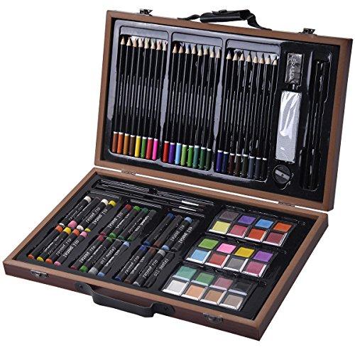 COSTWAY 80-teilig Malkoffer Malset Malkasten Malbox Wasserfarbe Buntstifte Ölpastell-Kreiden Holz