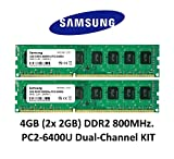 Samsung 4GB Dual-Channel KIT (2x 2GB) DDR2 800Mhz PC2-6400 240pin Desktop Arbeitsspeicher RAM Memory 3rd DIMM