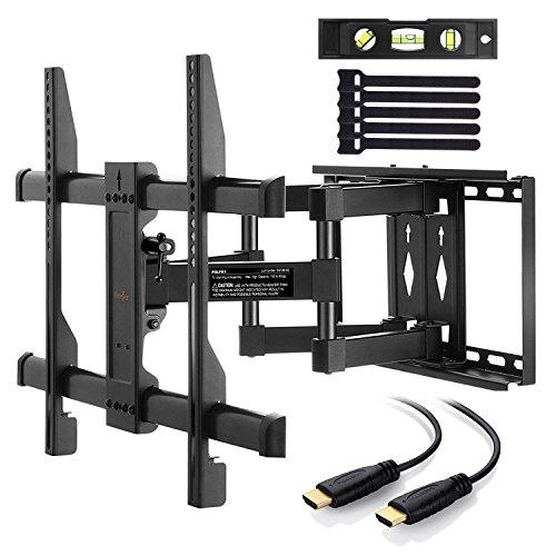 Perlegear Wandhalterung TV Schwenkbar Neigbar, Ausziehbar Fernseher Halterung Curved 4K LED LCD OLED Flachbildfernseher, 94-178cm 37-70 Zoll, VESA 200x100mm-600x400mm 3m HDMI Kabel, Schwarz