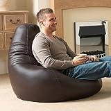 Bean Bag Bazaar Gaming Sitz Sack Designer Liegesessel BRAUN Lederimitat - Extra Large Sitzsack Sessel