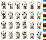 Gewürzstreuer Vorratsgläser Edelstahl mit Streuregulierung 80 ml und Etiketten 24 Stück