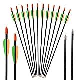 Toparchery Bogen Pfeile 12er Fiberglaspfeile Übungspfeile Pfeile Bogenschießen 28 Zoll Pfeile für Bogenschießen ø 7 mm
