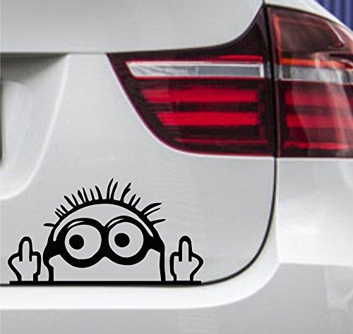 wDesigns Autoaufkleber Minion Stinkefinger Tuning Aufkleber Sticker JDM OEM 15x9cm