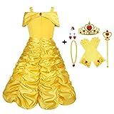 Viclcoon Prinzessin Kostüm Mädchen, Belle Kostüm Kinderkleider Mädchen Tutu Kleid mit Zubehör, Handschuhe, Diadem, Zauberstab und Halskette Ringe, 9 Pcs Set,6-7 Jahre, Gelb, Größe 140cm