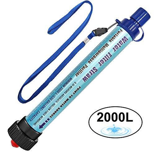 Wasserfilter Outdoor DeFe 2000L Personal Mini Tragbarer Camping Wasseraufbereitung Entfernt 99.99% Bakterien Filter auf 0,01 Microns für Wandern Trekking Reisen Abenteuer und Notbereitschaft (Blau)