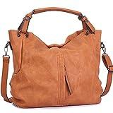 WISHESGEM Handtaschen Damen Taschen Hobo Umhängetaschen Schultertaschen Handtaschen PU-Leder Henkeltaschen Modernes 36cm(L)*16cm(W)*30cm(H) Terra Braun