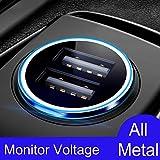 Auto Ladegerät, 4.8A / 24W [Ganzmetall] Mini USB Auto Adapter [Anzeige für den Autospannungsstatus] KFZ Ladegerät 2-Port für iPhone XR/Xs Max, Samsung Galaxy S8, Huawei Und mehr (Schwarz)–MEHRWEG