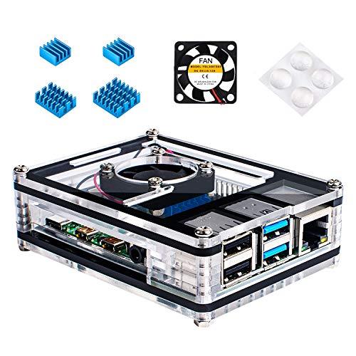 Miuzei Gehäuse für Raspberry Pi 4 mit Kühlung Lüfter, 4 × Aluminium Kühlkörper für Raspberry Pi 4 Modell B