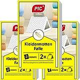 PIC Kleidermottenfalle - Dreierpack = 6 Stück - Mittel gegen Kleidermotten, geeignet zum Schutz sämtlicher Kleidung im Schrank und in der Lagerung