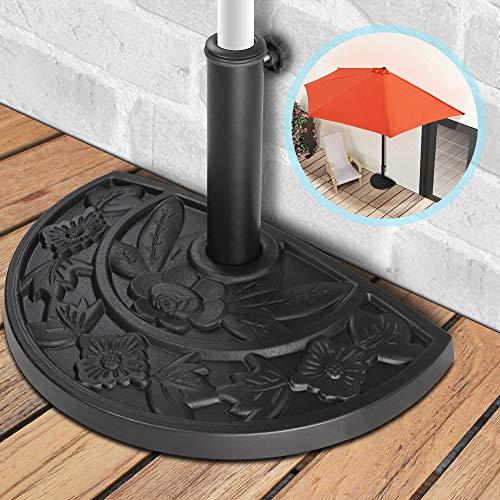 Sonnenschirmständer | 9kg, halbrund, aus Kunstharz-Zement, in Gussoptik | Sonnenschirmfuß, Sonnenschirmhalter, Balkon, Terrasse
