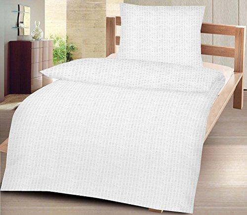 4-Teilige hochwertige Seersucker-Bettwäsche UNI in Weiss GRATIS 1x SCHAL, 2x 135x200 Bettbezug + 2x 80x80 Kissenbezug , 100% Baumwolle