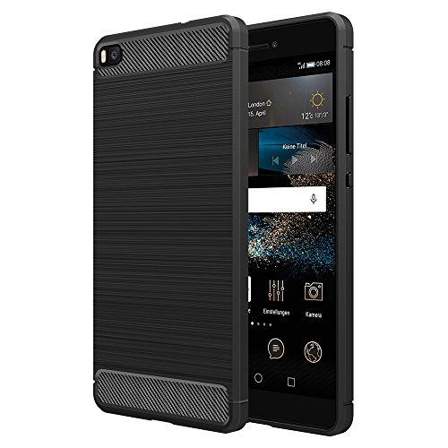[Neue Version]Huawei P8 Hülle Schwarz,Simpeak Premium Weiche Karbonfaser Elastisch Schützendes Rückseiten-Case für Huawei P8 [Fallschutz] [Rutschfest] [Kratzfest]