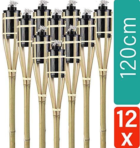 12 Gartenfackeln Bambus mit Docht 120cm | Lange Brenndauer | Öl Feuerfackeln für draußen