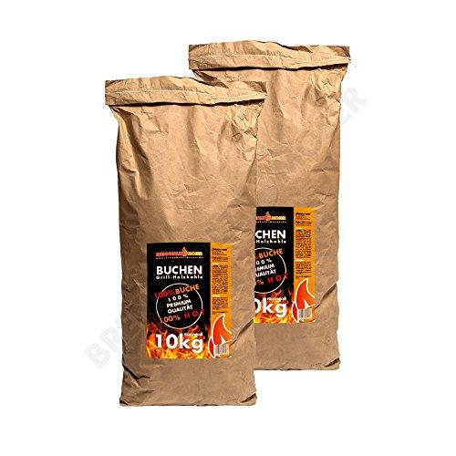 Holzkohle Buche für BBQ, Grillkohle groß, 20kg, Buchenholzkohle, Steakhouse Qualität, Premium Qualität, seit 2018 mit erweiterter Siebetechnik, Körnung: 30-120mm, Weber Grill geeignet, 2x 10kg Sack, VERSANDKOSTENFREI