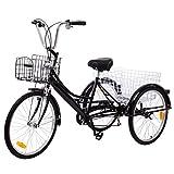 Ridgeyard Dreirad Für Erwachsene 24 Zoll 6 Geschwindigkeit 3 Rad fahrrad dreirad Pedal mit Warenkorb(Schwarz)