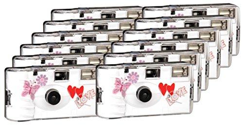 TopShot Love Hearts red Einwegkamera / Hochzeitskamera (27 Fotos, Blitz, 12-er Pack)